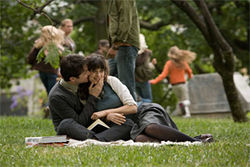 This ain't no picnic: Joseph Gordon-Levitt and Zooey Deschanel in one of the happy times during (500) Days of Summer.