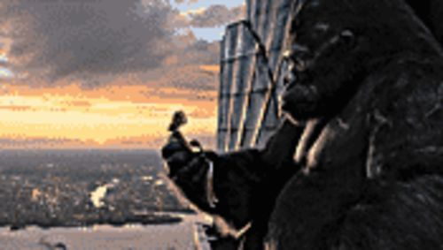 I'll take Manhattan: Naomi Watts gets a lift from the giant ape in King Kong.