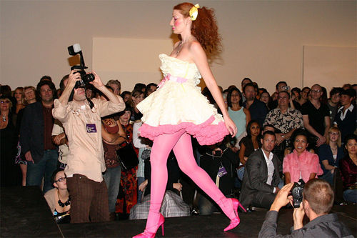 "Pretty in pink on the ""SMoCA Nights"" runway."