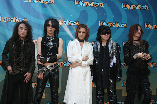 X Japan, moments before taking the stage at Lollapalooza 2010, their first-ever U.S. show.