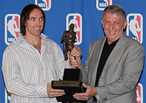 Nash and Jerry Colangelo holding Nash's first of two MVP trophies.