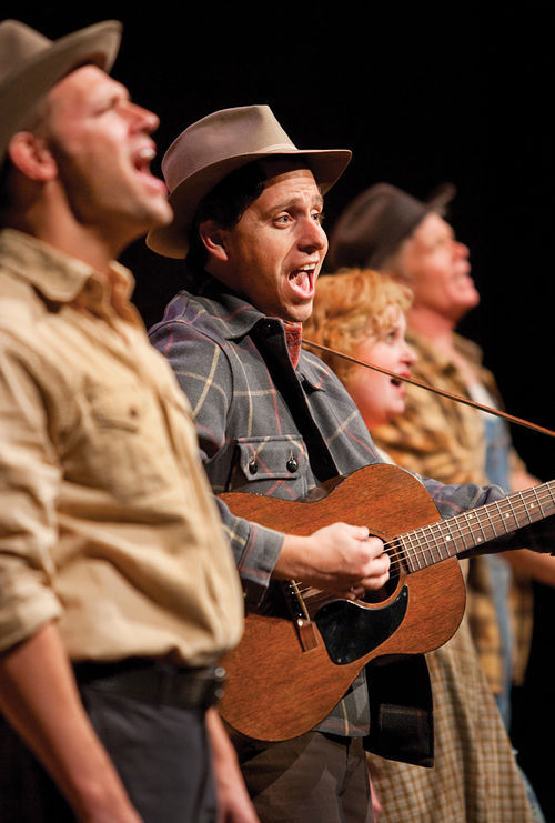 Jim Newman, Ryan Nearhoff, Sally Mayes, and Jason Edwards in Arizona Theatre Company's Woody Guthrie's American Song.