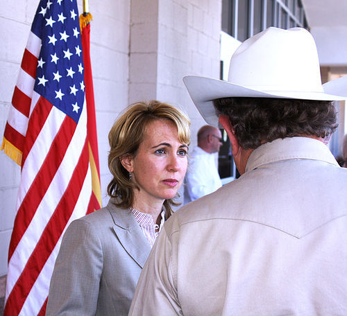 "Gabrielle Giffords meeting a constituent during a ""Congress on Your Corner"" event."