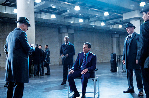 Men with hats: Matt Damon faces down some gents from The Adjustment Bureau.