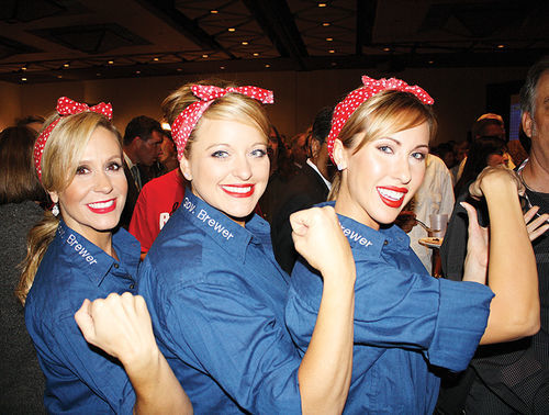 Jan Brewer impersonators in Rosie the Riveter garb
