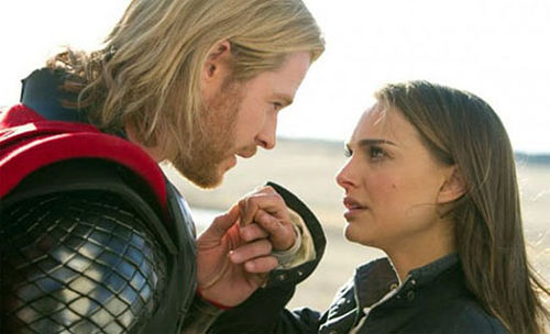 Pretty dull: Chris Hemsworth and Natalie Portman stiffen up in Kenneth Branagh's Thor.