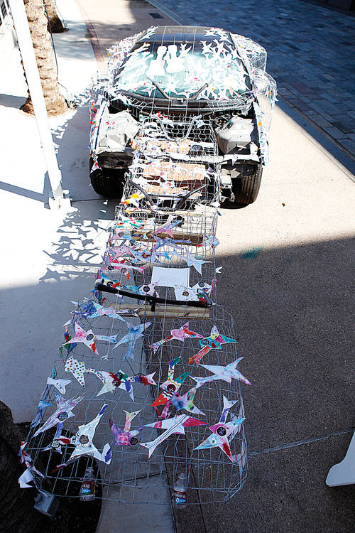 "Jose Benavides' community art project, the ""Guitar Car,"" when it was in progress at Mesa Arts Center."