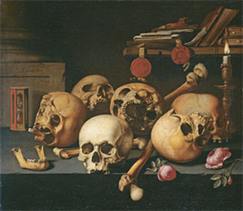 Vanitas still-life (Skulls on a Table), by Aelbert Jansz van der Schoor (circa 1660). Collection of the Rijksmuseum, Amsterdam.