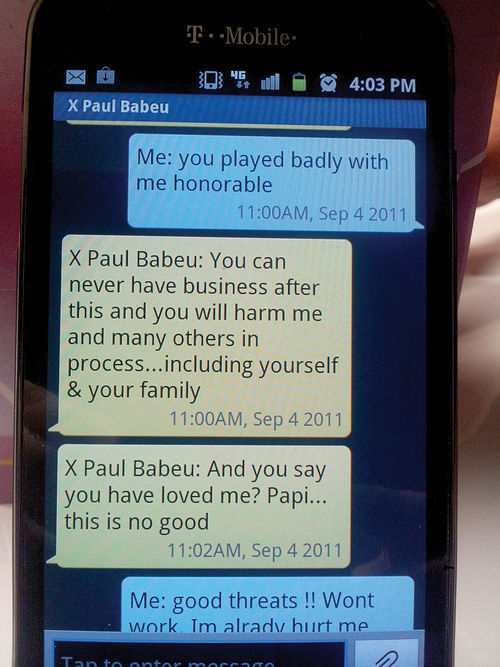 Text messages between Jose and Babeu