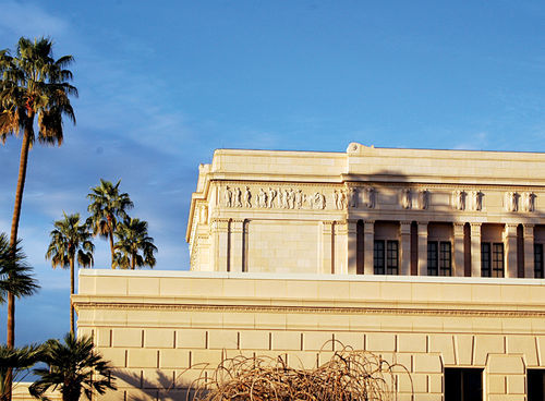 "A frieze on the LDS temple in Mesa, showing Mexican saints in sombreros as they join other nationalities in the ""gathering of Israel."""