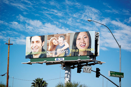 "An LDS-sponsored billboard in Mesa, part of the church's multimillion-dollar ""I'm a Mormon"" PR campaign."