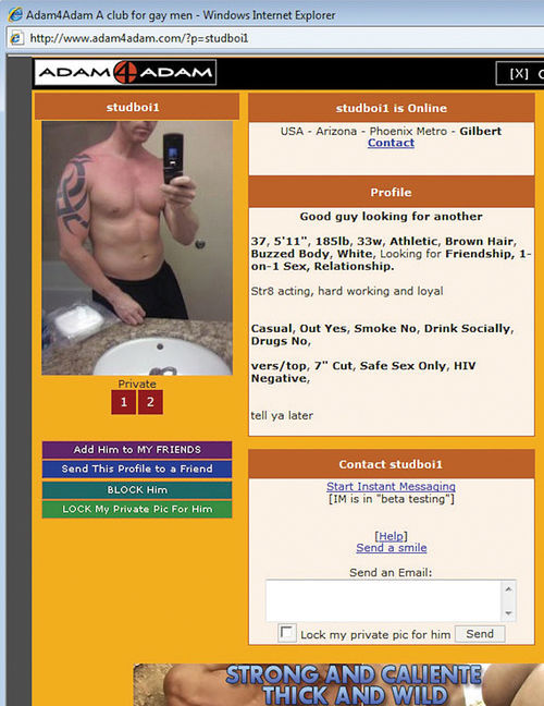 Paul Babeu's profile on adam4adam.com