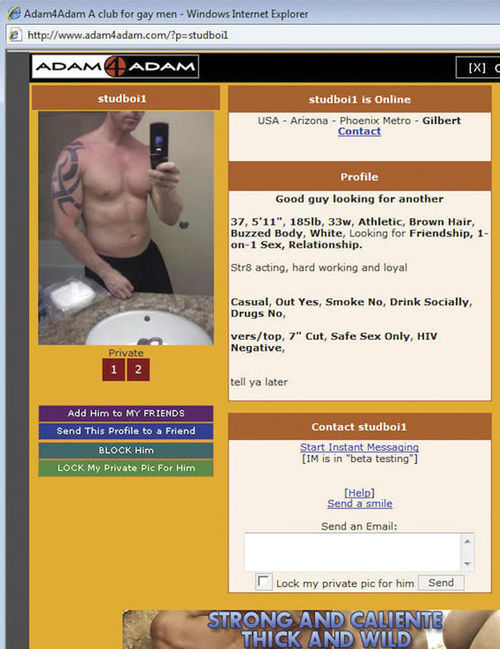 Sheriff Babeu's profile on adam4adam.
