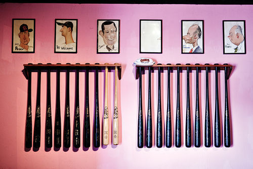 The Pink Pony's collection of baseball memorabilia, though less prominent than it once was, still adorns the walls.