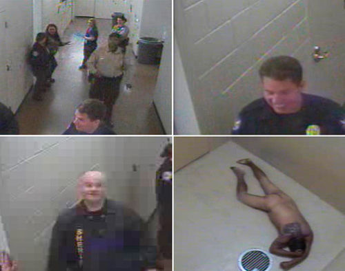 "Army vet Marty Atencio (bottom right) dies naked in a ""safe cell"" after a jailhouse beat-down and multiple Tasings, while MCSO detention officers and a Phoenix cop joke, dance, and laugh."