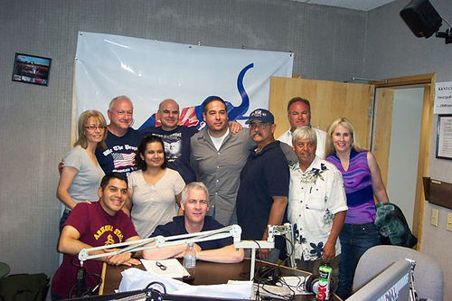 From the Radio ALRA Facebook page, standing second from the left: Russell Pearce, Haydee Dawson, Dino Eliades, and Rey Torres (center).