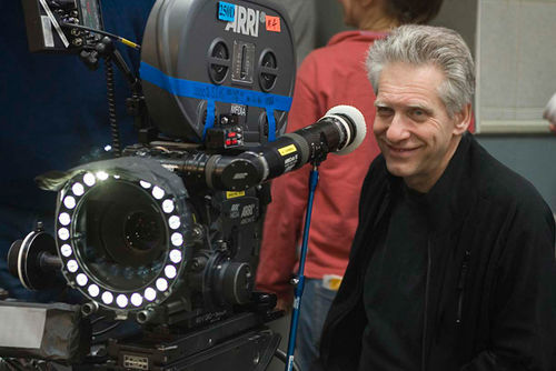 David Cronenberg on the set of Cosmopolis.