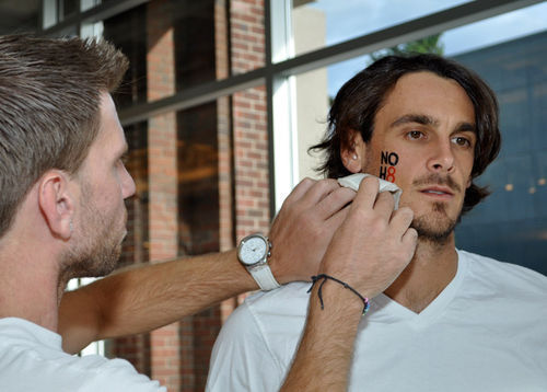 "Kluwe participated in a promotional photo shoot for ""No H8,"" an offshoot of the campaign against California's Proposition 8."