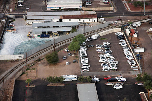 An overhead view of the crime scene just west of downtown Phoenix, near the state Capitol building.