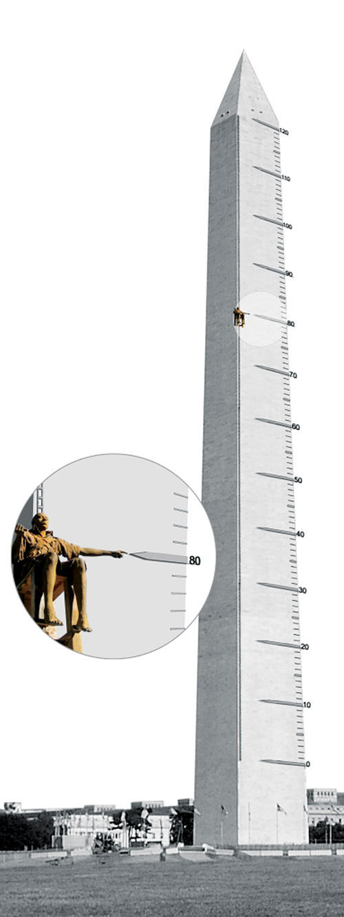 The proposed Thermometer Man, shown here scaling an obelisk that would have been built on the flour mill site.
