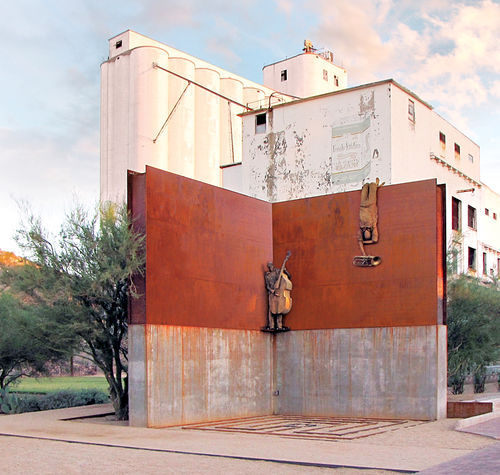 The flour mill, shown with just Tonnesen's sculptures and none of the city-approved student art intended for the space.