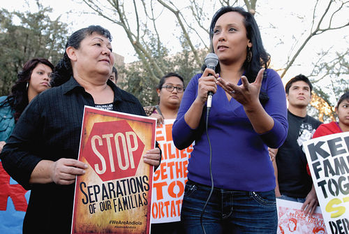 Erika Andiola (right) with her mother Maria Arreola, after Arreola's near-brush with deportation.