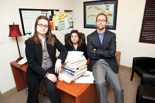 (From left to right) Attorneys Dori Zavala, Delia Salvatierra, and Johnny Sinodis, fighting the MCAO's cruel, unconstitutional treatment of the undocumented.