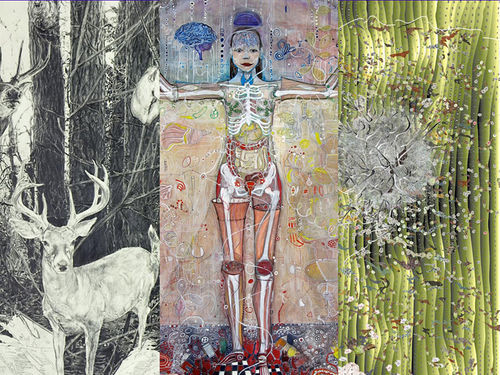 "A collage of works in ""Creative-Man-Nature"" by Mary Shindell, Carolyn Lavender, and Monica Aissa Martinez"
