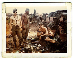 Tony Tercero (second from right) with some pals at Camp Eagle, Vietnam, in 1968.