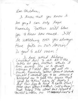 Faylene wrote this letter to her children shortly before she died in September 2001. (Click the image to view a larger version.)
