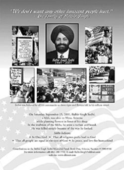 One of the duties of the new Sikh Task Force is to develop educational materials, like this poster, to prevent further violence against Sikhs. Click for larger view