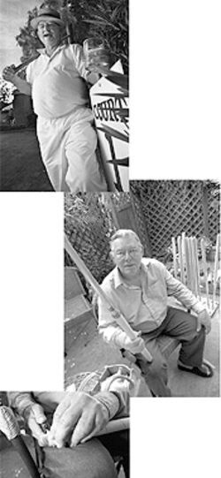 From top: Stan Patmor with mallet, cigar and cocktail — the essentials for a proper game of croquet. Patmor at home (right and below) making mallets.