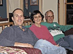 Krone, with his mom, Carolyn Leming, and stepdad, Jim, after a Sunday dinner at their home.