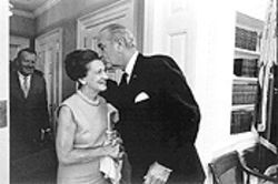 President Lyndon Johnson welcomes Florence Mahoney to the White House.