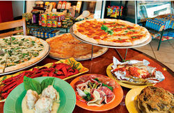 Counter-service convenience and tasty dine-in or to-go Italian-American eats make up Aiello's Salumeria and Isa's Pizza.