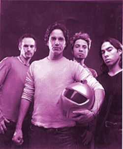 Third Eye Blind: Front man Stephan Jenkins (with helmet), on tour and licking cocaine off the thighs of 15-year-old girls everywhere.