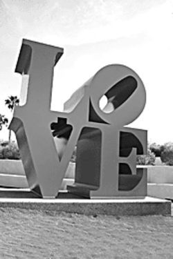 Look of love: Robert Indiana's sculpture is just one of the pieces on display in Scottsdale.