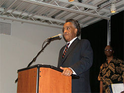 The Reverend Al Sharpton preaches unity among African Americans and Latinos at Phoenix&#039;s Pilgrim Rest Baptist Church.