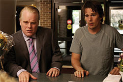 Through the wringer: Philip Seymour Hoffman and Ethan Hawke, nearly upchucking from the stress, in  Before the Devil Knows You're Dead.