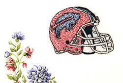 Manch's Hometeam depicts a Buffalo Bills helmet in an homage to her family's New York roots.