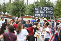 Hundreds hit the streets for an April 25 protest in Phoenix.
