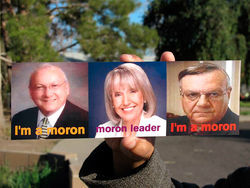 Artist Irma Sanchez's takeoff on an ad campaign by the Mormon Church, featuring three prominent Arizona hard-liners on immigration.