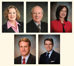 Clockwise, from top left: Arizona Corporation Commission members Susan Bitter Smith, Bob Burns, Brenda Burns, Bob Stump, and Gary Pierce