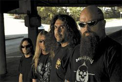 Slayer, back with original drummer Dave Lombardo (far left).