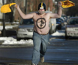 A scene from Steeler Nation, the kind of guy who makes the Steelers White Trash America's team.