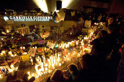 A vigil for Congresswoman Gabrielle Giffords in Tucson.