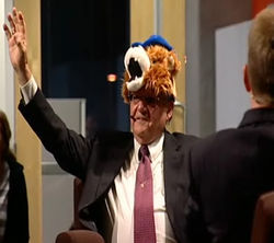 Grand Pooh-Bah Arpaio salutes the singing peanut gallery at ASU's Cronkite School.
