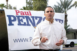 Joe foe and wanna-be Maricopa County Sheriff Paul Penzone during a campaign event in Phoenix.