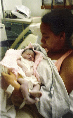 Ambrett Spencer with her baby, Ambria