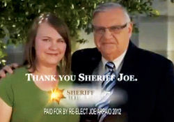 Portrait of desperation: Arpaio and former jailbird &quot;Randall&quot; share a moment.